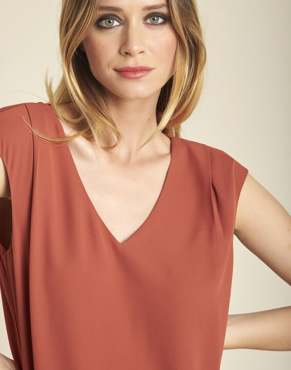 Neptune terracotta dual-fabric nude blouse with V-neck (3) - 1-2-3