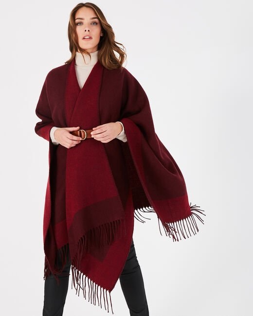 Mohnroter Poncho mit Fransen Eloic (1) - 1-2-3