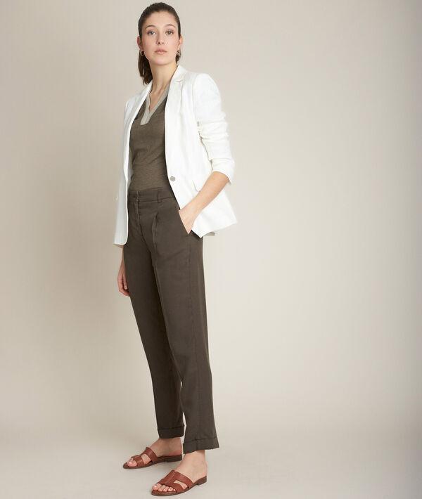 Pantalon chino kaki en Lyocell Idylle PhotoZ | 1-2-3
