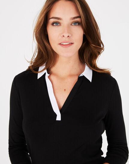 Tee-shirt noir col chemisier Bowling (3) - 1-2-3