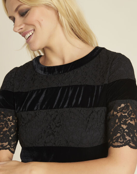 Noor black dual-material lace dress (2) - 1-2-3