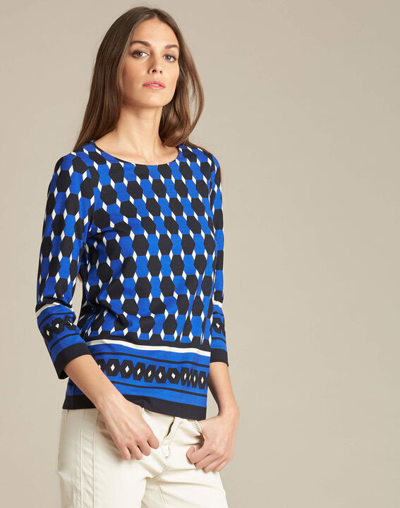 Evita block navy blue blouse with graphic print (3) - 1-2-3