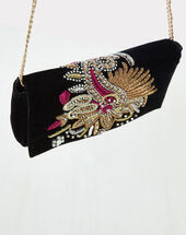 Rosie embroidered black clutch bag black.