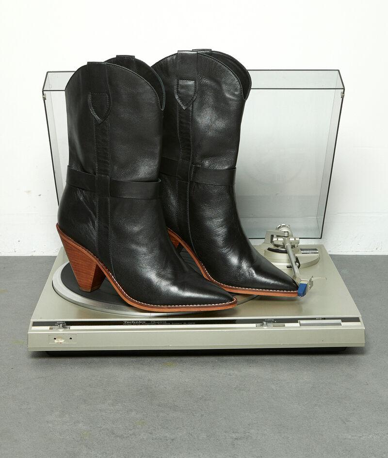 Boots à talons en cuir souple noir Halma PhotoZ | 1-2-3