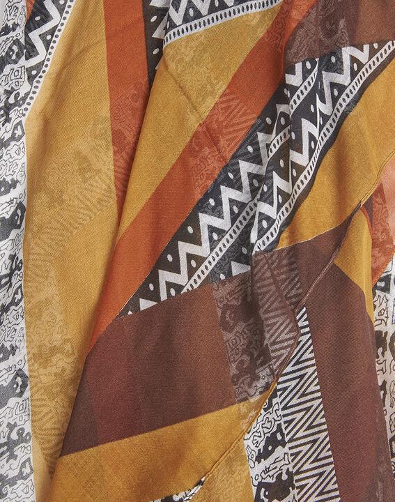 Bernsteinfarbener Schal mit ethnischem Druckmuster aus Seide und Modal Fenda (2) - 1-2-3