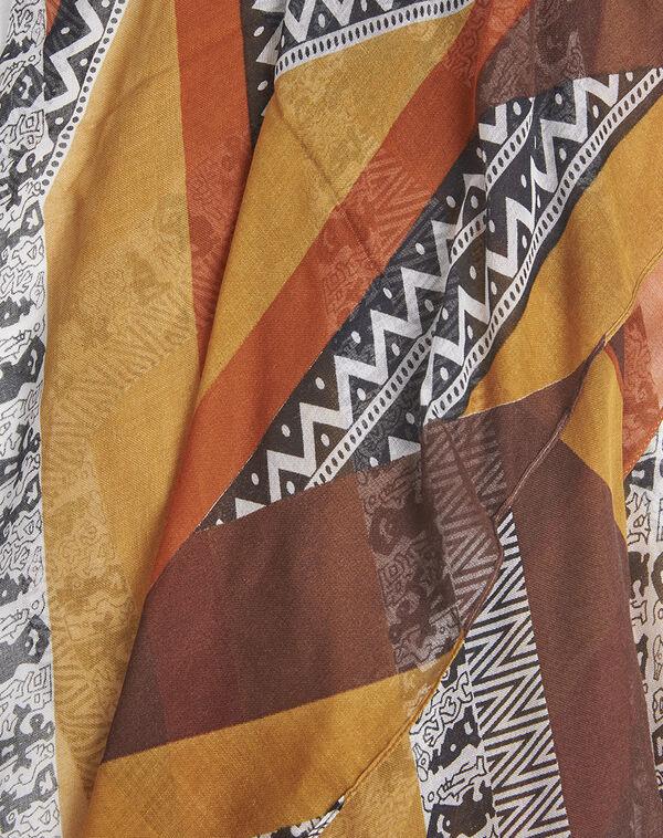 Foulard soie et modal ambre imprimé ethnique Fenda (1) - 1-2-3