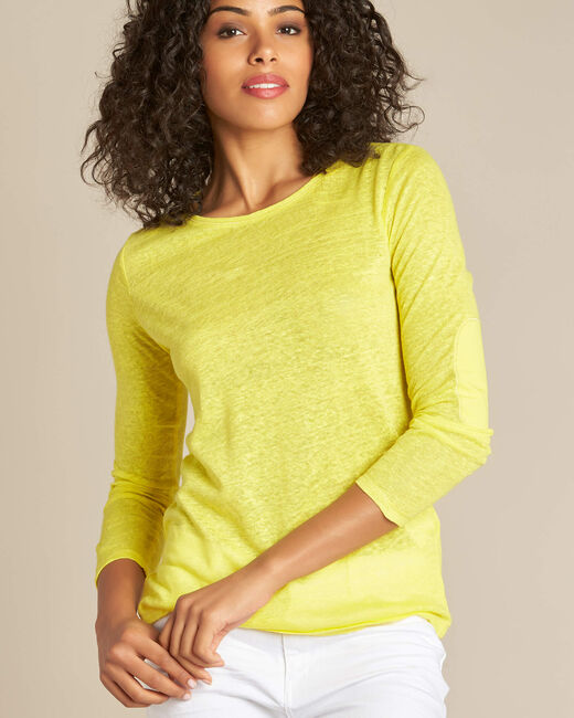 Elin lemon long-sleeved T-shirt in linen. (1) - 1-2-3
