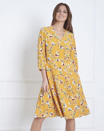 Robe jaune imprimé fleuri portefeuille laurene bouton d`or.