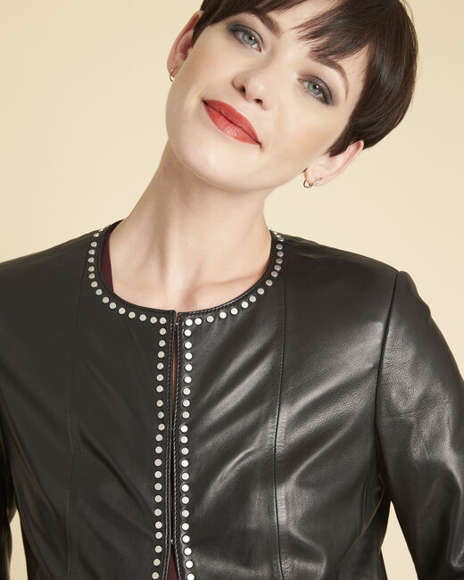 Vannessa black leather jacket with studded detailing (2) - 1-2-3