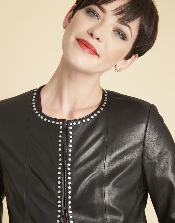 Vannessa black leather jacket with studded detailing (3) - 1-2-3