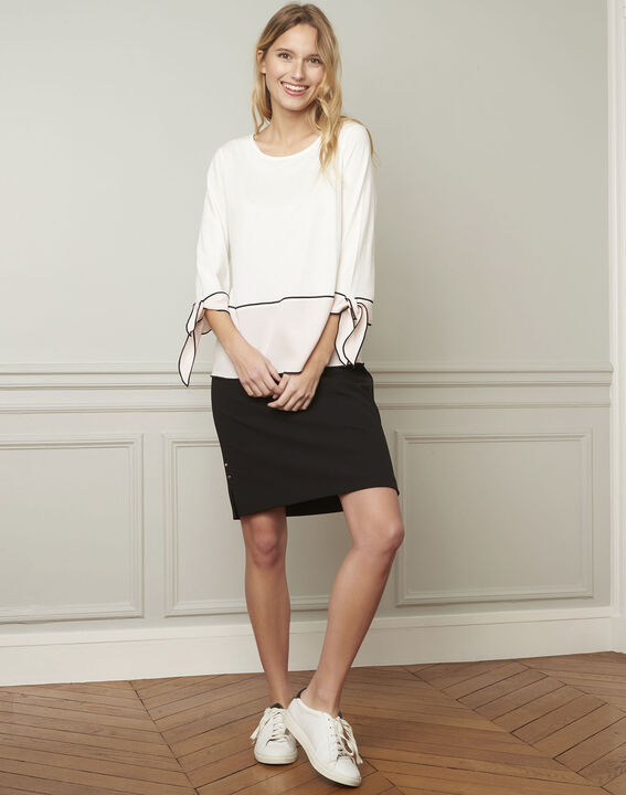 Alex black straight microfibre skirt (1) - Maison 123