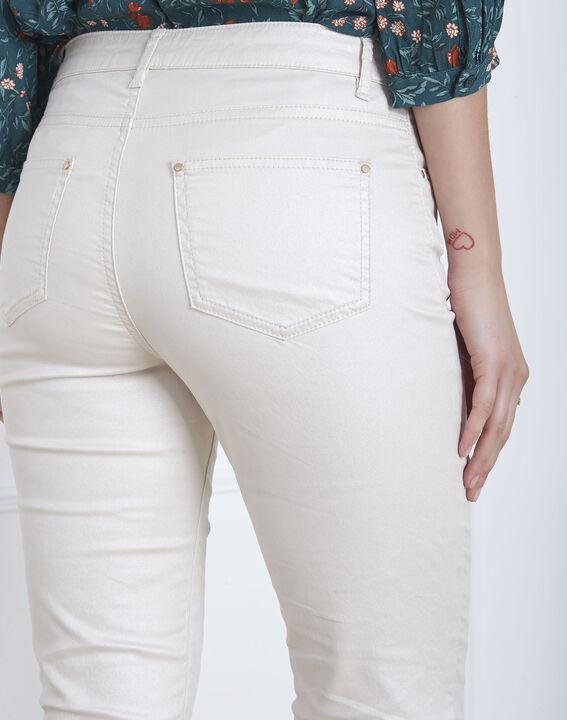 Beigefarbene, schimmernde Slim-Jeans Capucine (3) - Maison 123