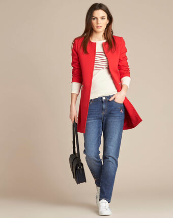 Kaya red straight-cut 3/4 length coat with zip detailing red.