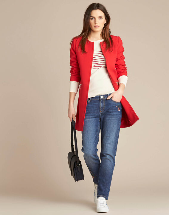 Kaya red straight-cut 3/4 length coat with zip detailing (2) - 1-2-3