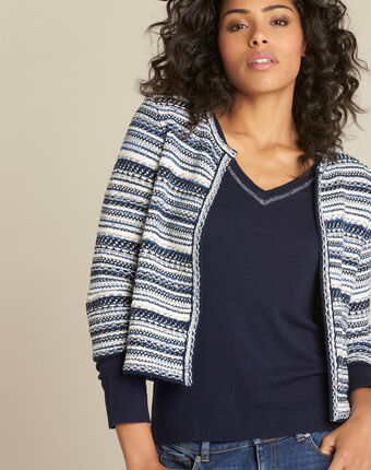 Nougat short jacquard navy blue jacket navy.