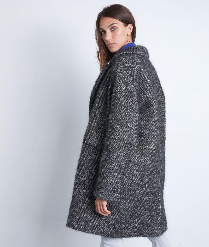 Manteau en laine à chevron gris chiné Lubna PhotoZ | 1-2-3
