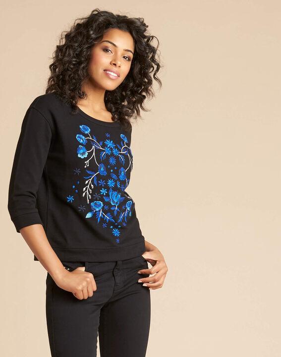 Zwarte geborduurde sweater met driekwartmouwen Eldorado (3) - 37653