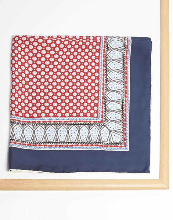 Ashton graphic printed square scarf in silk (2) - 1-2-3