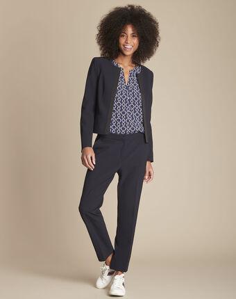 Pantalon de tailleur marine et sa bande latérale suzanne marineblau.