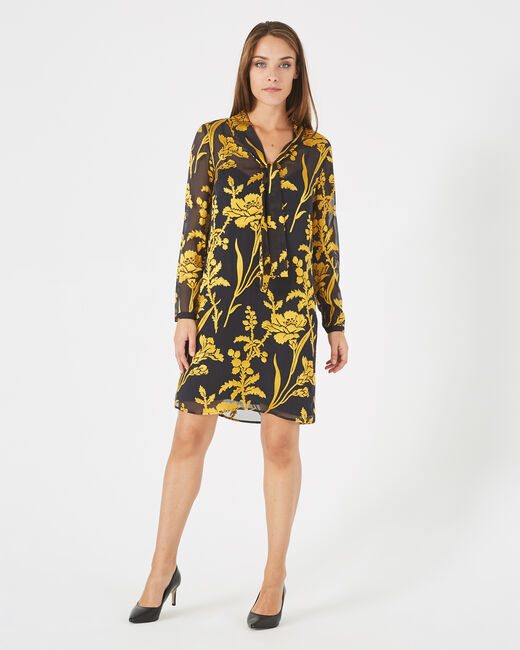 Arty gold dress with pussy bow and floral print (1) - 1-2-3