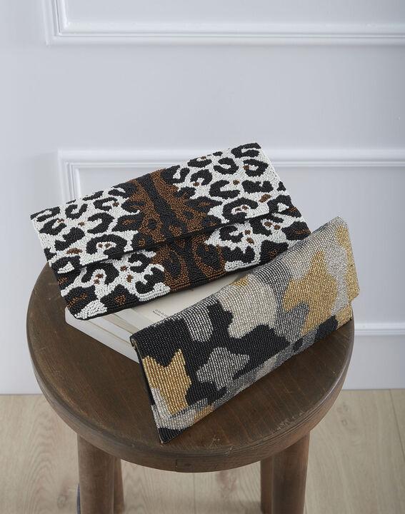 Khakifarbene Tasche mit Perlenbesatz Ussel (3) - Maison 123