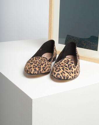 Ballerines imprimé léopard en cuir kim camel.