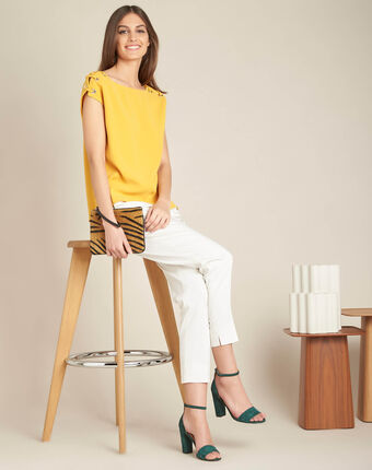 Germina yellow blouse with eyelets and laces sun.