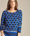 Evita block navy blue blouse with graphic print PhotoZ   1-2-3