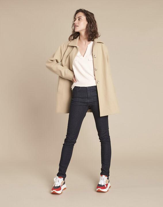 Genna pink V-neck dual-fabric blouse (2) - Maison 123