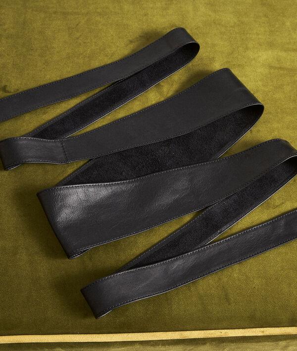 Ceinture en cuir noir à nouer Raul  PhotoZ | 1-2-3