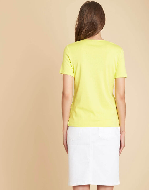 Tee-shirt jaune encolure fantaisie Etincelant (4) - 1-2-3