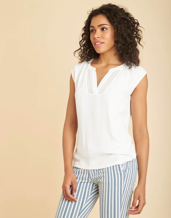 Bianca ecru dual-fabric T-shirt with short sleeves and fishnet neckline (3) - 1-2-3