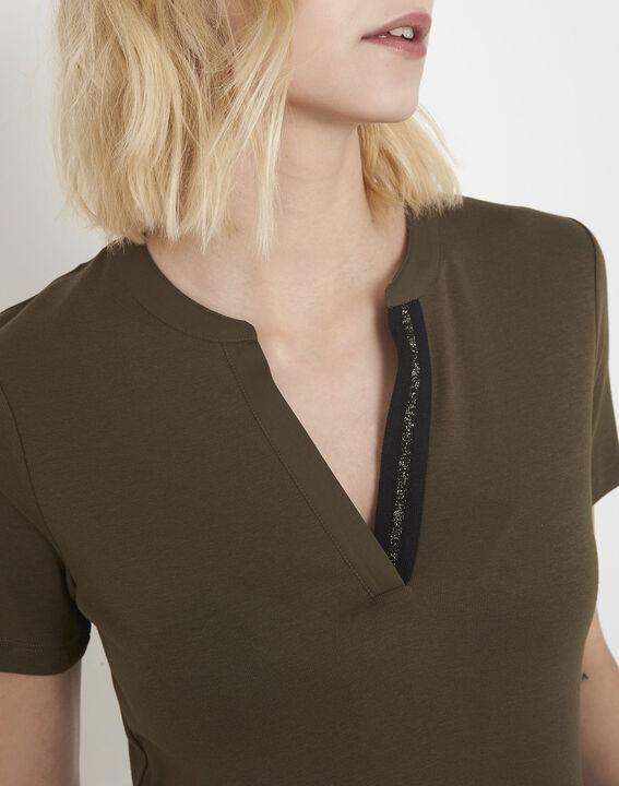 Khakifarbenes Shirt mit Lurex-Schrägband Priscille (3) - Maison 123