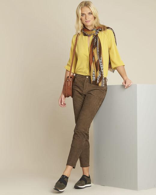 Gelbe Seidenbluse mit Spitze Cleopatre (1) - 1-2-3
