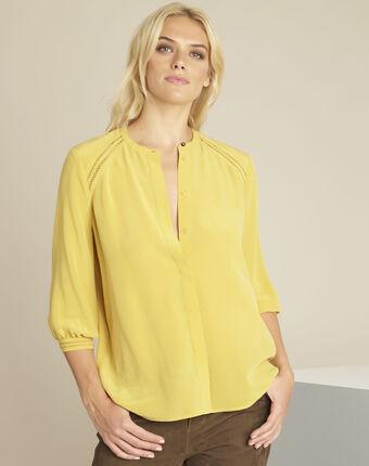 Gele klanten blouse van zijde cleopatre ocre.