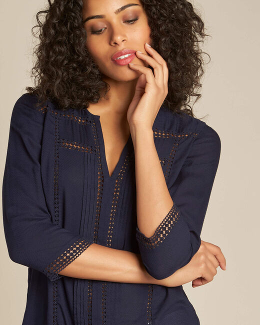 Graziella navy blue blouse with guipure detailing (1) - 1-2-3