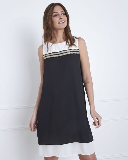 Isola black and white dress with gold detailing (2) - 1-2-3
