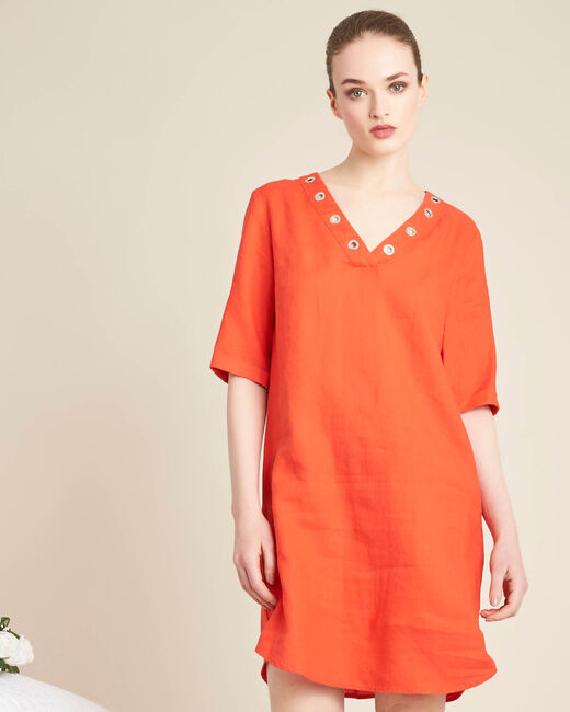Pavot orange linen dress with eyelets on the neckline (2) - 1-2-3