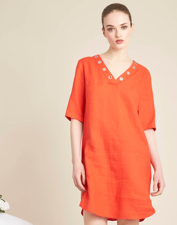 Pavot orange linen dress with eyelets on the neckline (3) - 1-2-3