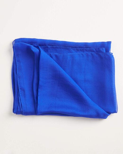Foulard en soie bleu roi uni Alice (2) - 1-2-3