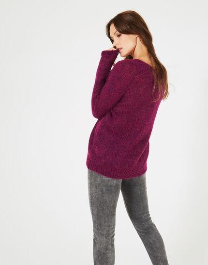 Cassisfarbener Pullover mit V-Ausschnitt aus Mohair und Alpaka Paprika (3) - 1-2-3