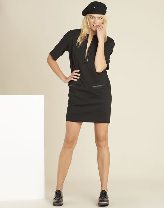 Douce black Milano dress with faux leather details (3) - 1-2-3