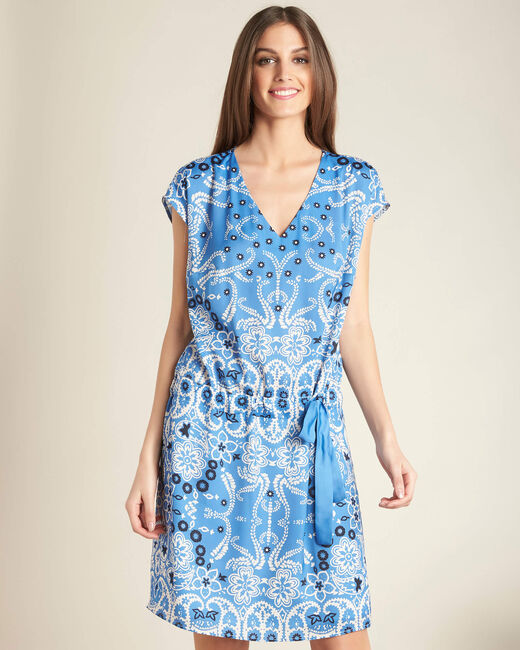 Pauline sky blue floral printed dress with belt (2) - 1-2-3