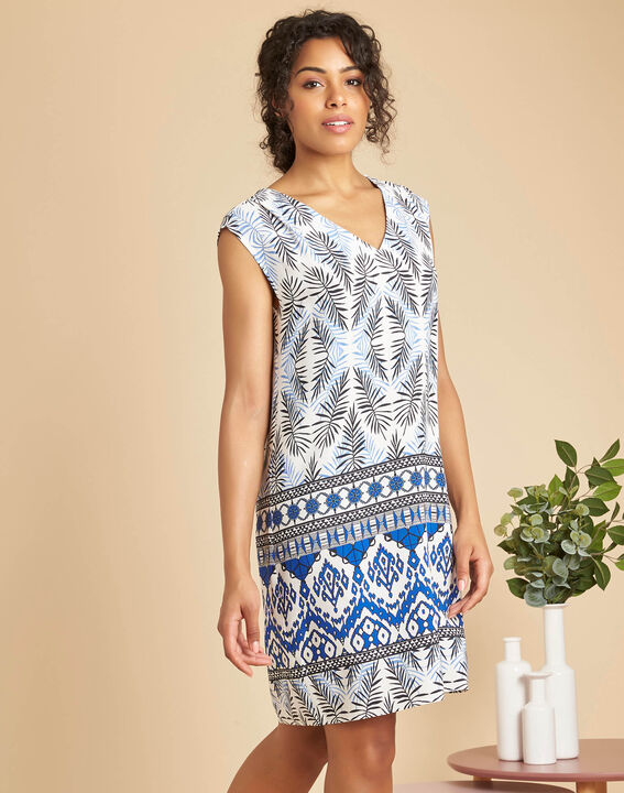 Pretty navy V-neck dress with ethnic print (3) - 1-2-3