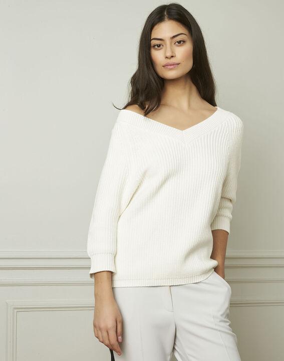 Crèmekleurige trui van katoen en wol met V-hals Ankara (1) - Maison 123