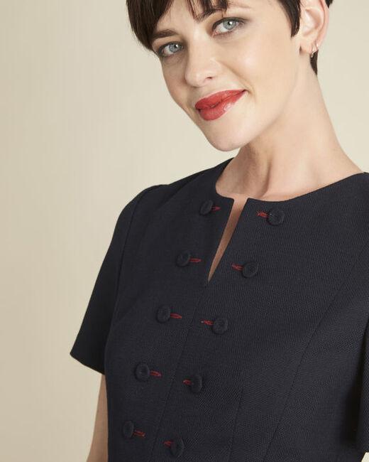 Marineblaues kompaktes Kleid mit Knopfdetails Delia (1) - 1-2-3