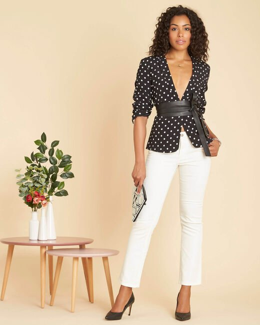 Demoiselle tailored jacket with black polka-dot print  (1) - 1-2-3