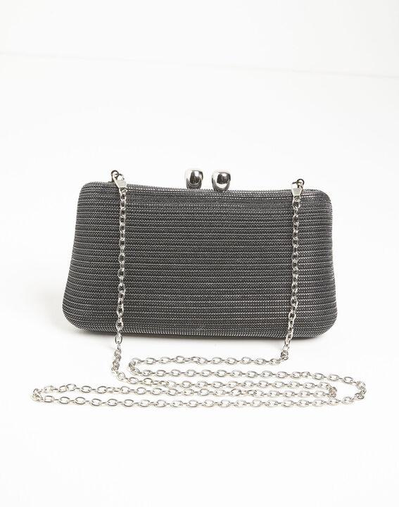 Zwarte avondtas met metalen draad Isadora (2) - 37653
