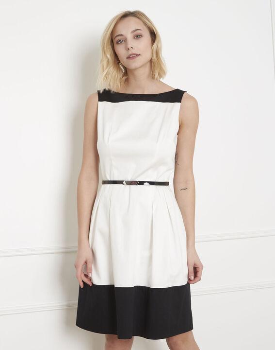 Schwarz-weißes Colorblocking-Kleid Hisis PhotoZ | 1-2-3