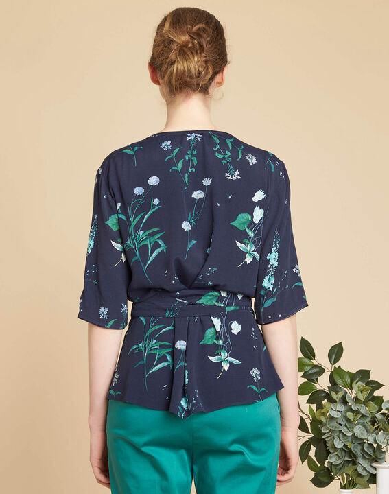 Danielle navy blue blouse with floral print and cross-over neckline (4) - 1-2-3